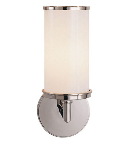 Visual Comfort S 2006PN-WG Studio VC Modern Cylinder Sconce in Polished Nickel with White Glass