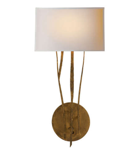 Visual Comfort S 2050GI-NP Ian K. Fowler Casual Aspen Sconce in Gilded Iron with Natural Paper Shade