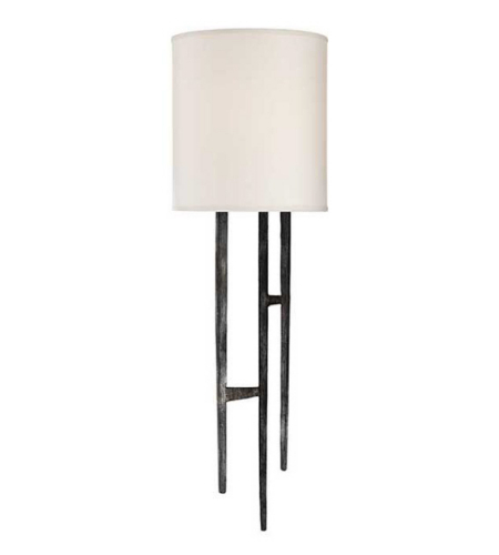 Visual Comfort S 2052AI-NP Ian K. Fowler Casual Vail Sconce in Aged Iron with Natural Paper Shade