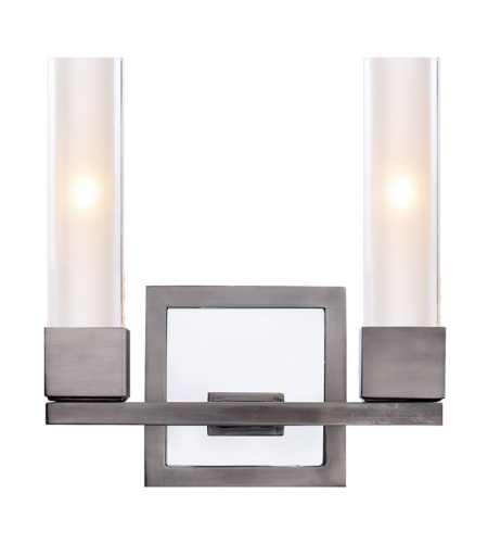 Visual Comfort S 2155AN-CG Ian K. Fowler Modern Kendal Double Sconce in Antique Nickel with Clear Glass