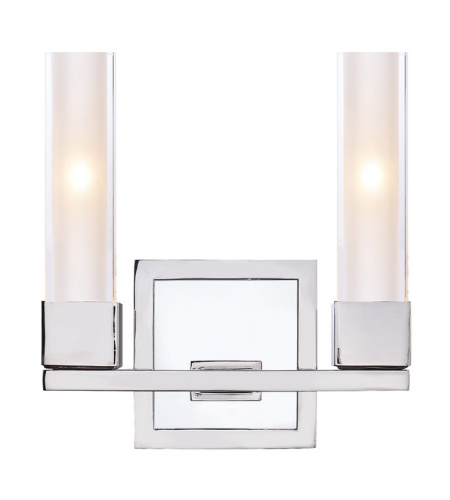 Visual Comfort S 2155PN-CG Ian K. Fowler Modern Kendal Double Sconce in Polished Nickel with Clear Glass