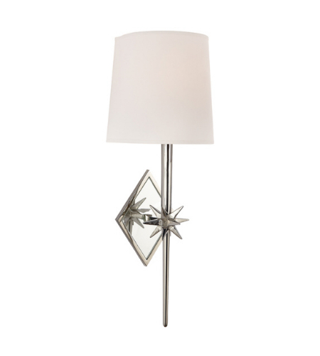 Visual Comfort S 2320PN-NP Ian K. Fowler Casual Etoile Sconce in Polished Nickel with Natural Paper Shield