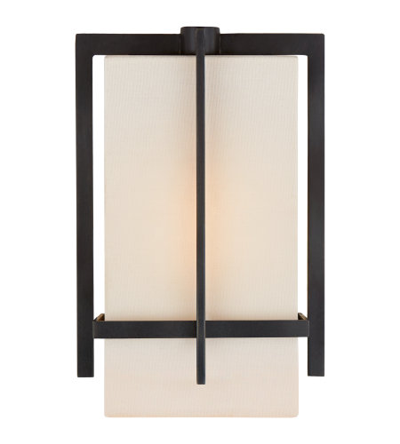 Visual Comfort S 2323AI-L Ian K. Fowler Casual Milo Small Sconce in Aged Iron with Linen Shade