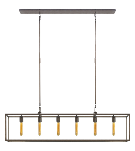 Visual Comfort S 5015AI Ian K. Fowler Modern Belden Linear Lantern in Aged Iron with Clear Glass