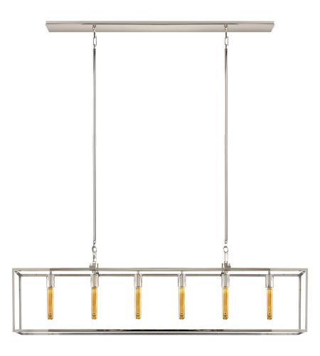Visual Comfort S 5015PN Ian K. Fowler Modern Belden Linear Lantern in Polished Nickel with Clear Glass