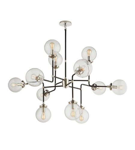 Visual Comfort S 5022PN-CG Ian K. Fowler Modern Bistro Medium Chandelier in Polished Nickel with Clear Glass
