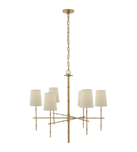 Visual Comfort S 5161HAB-PL Studio VC Modern Grenol Medium Modern Bamboo Chandelier in Hand-Rubbed Antique Brass with Natural Percale Shades