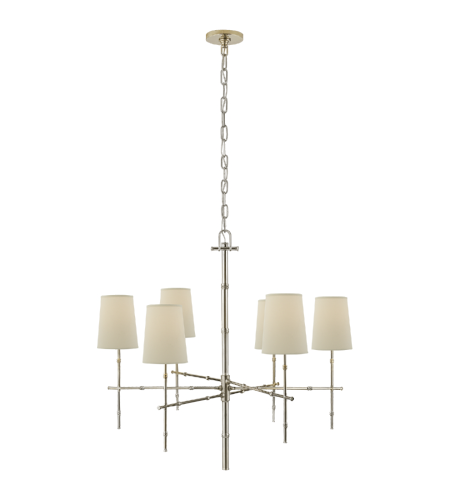 Visual Comfort S 5161PN-PL Studio VC Modern Grenol Medium Modern Bamboo Chandelier in Polished Nickel