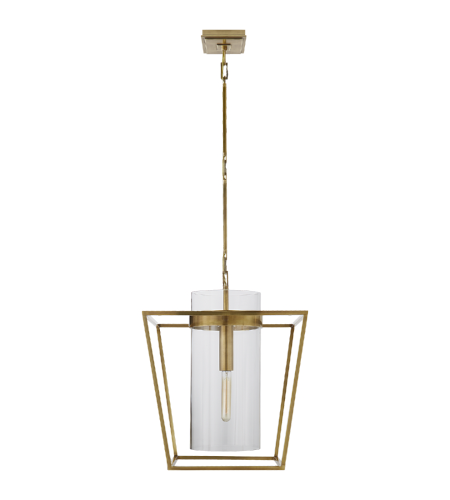 Visual Comfort S 5167HAB-CG Ian K. Fowler Modern Presidio Small Lantern in Hand-Rubbed Antique Brass with Clear Glass
