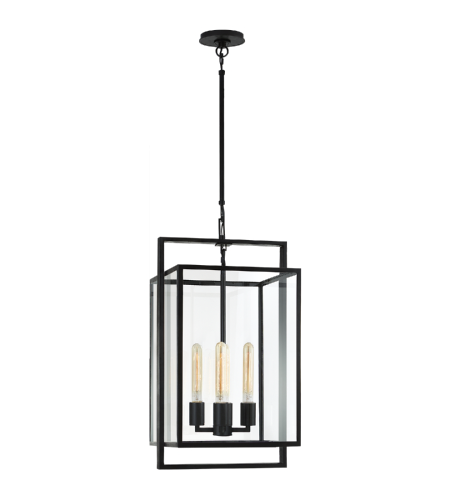 Visual Comfort S 5192AI-CG Ian K. Fowler Modern Halle Small Lantern in Aged Iron with Clear Glass