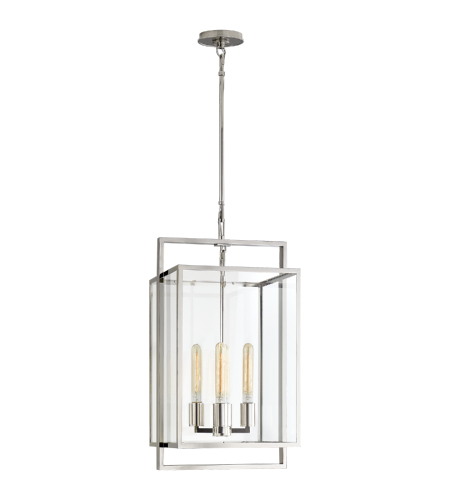 Visual Comfort S 5192PN-CG Ian K. Fowler Modern Halle Small Lantern in Polished Nickel with Clear Glass