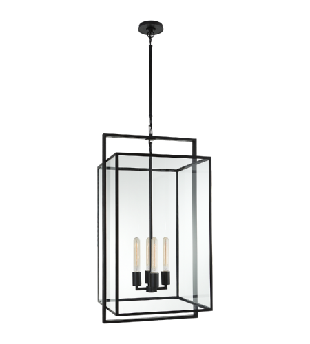 Visual Comfort S 5193AI-CG Ian K. Fowler Modern Halle Medium Lantern in Aged Iron with Clear Glass