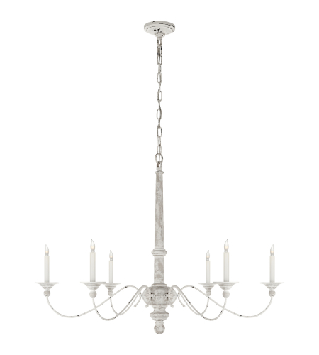 Visual Comfort S 5212BW Studio VC Casual Country Large Chandelier in Belgian White