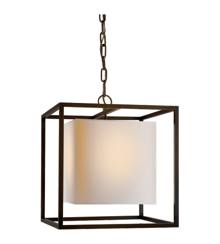 Visual Comfort SC 5159BZ Eric Cohler Modern Caged Small Lantern in Bronze with Natural Paper Shade