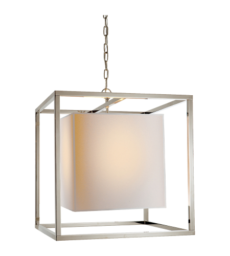 Visual Comfort SC 5160PN Eric Cohler Modern Caged Medium Lantern in Polished Nickel with Natural Paper Shade