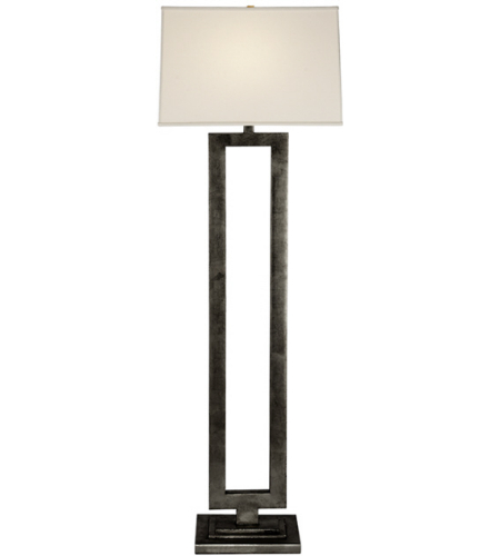 Visual Comfort SK 1008AI-L Suzanne Kasler Modern Modern Open Floor Lamp in Aged Iron with Linen Shade