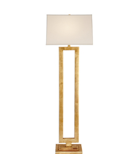 Visual Comfort SK 1008G-L Suzanne Kasler Modern Modern Open Floor Lamp in Gild with Linen Shade
