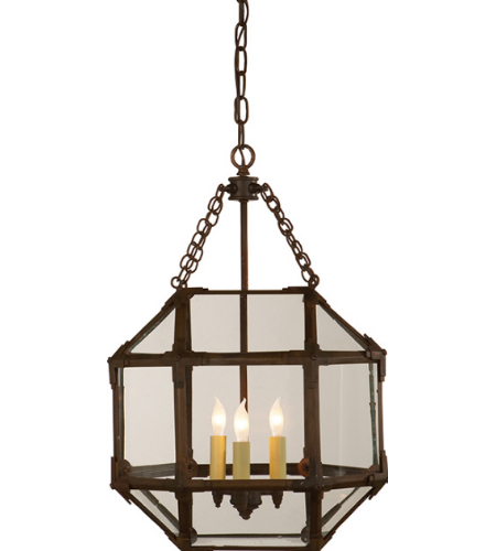 Visual Comfort SK 5008AZ-CG Suzanne Kasler Casual Morris Small Lantern in Antique Zinc with Clear Glass