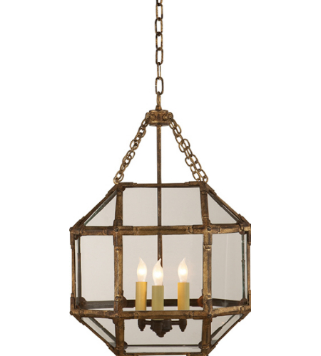 Visual Comfort SK 5008GI-CG Suzanne Kasler Casual Morris Small Lantern in Gilded Iron with Clear Glass