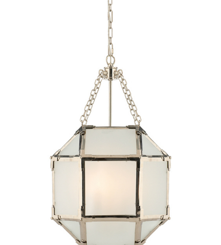 Visual Comfort SK 5008PN-FG Suzanne Kasler Casual Morris Small Lantern in Polished Nickel with Frosted Glass