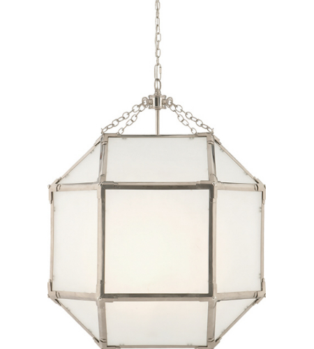 Visual Comfort SK 5009PN-FG Suzanne Kasler Casual Morris Medium Lantern in Polished Nickel with Frosted Glass