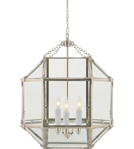 Visual Comfort SK 5009PN-CG Suzanne Kasler Casual Morris Medium Lantern in Polished Nickel with Clear Glass