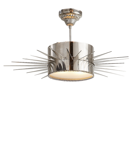 Visual Comfort SK 5202PN Suzanne Kasler Casual Soleil Large Semi-Flush in Polished Nickel with Frosted Glass
