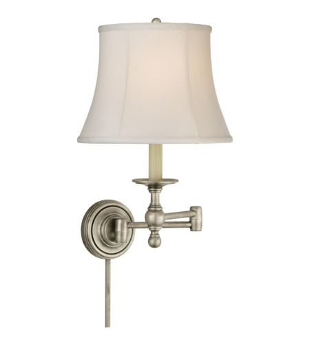 Visual Comfort SL 2800AN-S E. F. Chapman Traditional Classic Swing Arm Sconce in Antique Nickel with Silk Shade