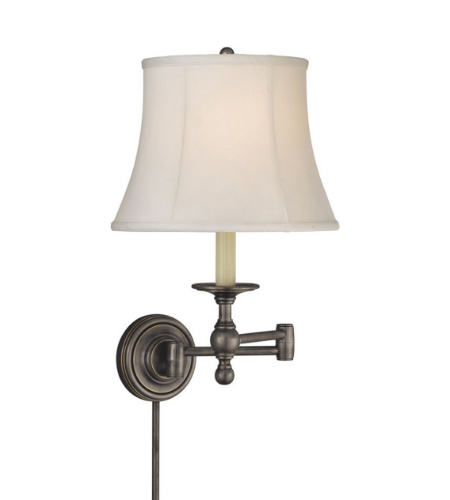 Visual Comfort SL 2800BZ-S E. F. Chapman Traditional Classic Swing Arm Sconce in Bronze with Silk Shade