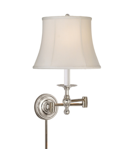Visual Comfort SL 2800PN-S E. F. Chapman Traditional Classic Swing Arm Sconce in Polished Nickel with Silk Shade