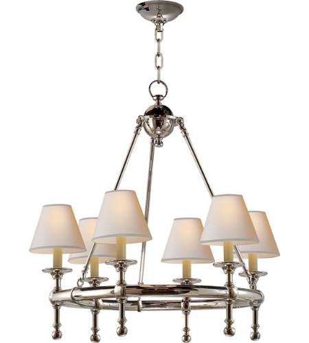 Visual Comfort SL 5814PN-NP E. F. Chapman Traditional Classic Mini Ring Chandelier in Polished Nickel with Natural Paper Shades