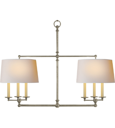 Visual Comfort SL 5816AN-NP E. F. Chapman Traditional Classic Billiard Light in Antique Nickel with Natural Paper Shades