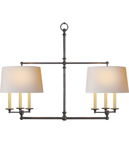 Visual Comfort SL 5816BZ-NP E. F. Chapman Traditional Classic Billiard Light in Bronze with Natural Paper Shades