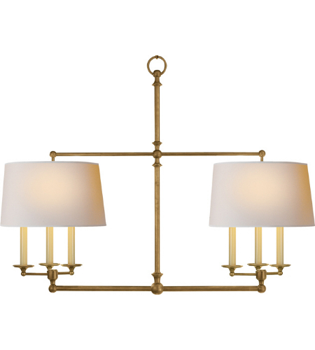 Visual Comfort SL 5816HAB-NP E. F. Chapman Traditional Classic Billiard Light in Hand-Rubbed Antique Brass with Natural Paper Shades