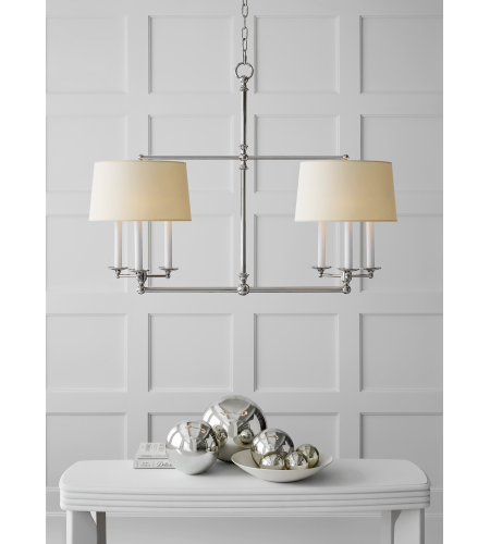 Visual Comfort SL 5816PN-NP E. F. Chapman Traditional Classic Billiard Light in Polished Nickel with Natural Paper Shades