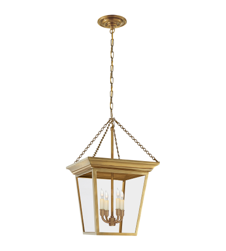 Visual Comfort SL 5871HAB E. F. Chapman Traditional Cornice Small Lantern in Hand-Rubbed Antique Brass
