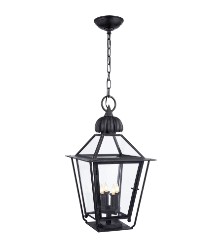 Visual Comfort SP 5071BC J. Randall Powers Traditional Audley Medium Hanging Lantern in Blackened Copper with Clear Glass