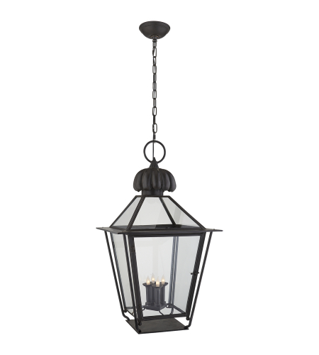 Visual Comfort SP 5072BC J. Randall Powers Traditional Audley Large Hanging Lantern in Blackened Copper with Clear Glass
