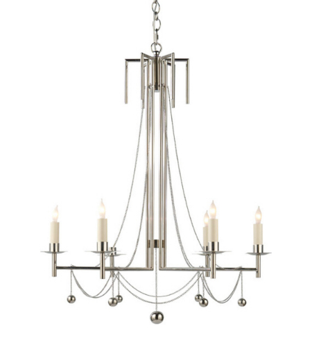 visual comfort sr 5017pnnp john rosselli modern millo chandelier in polished nickel with natural paper shades