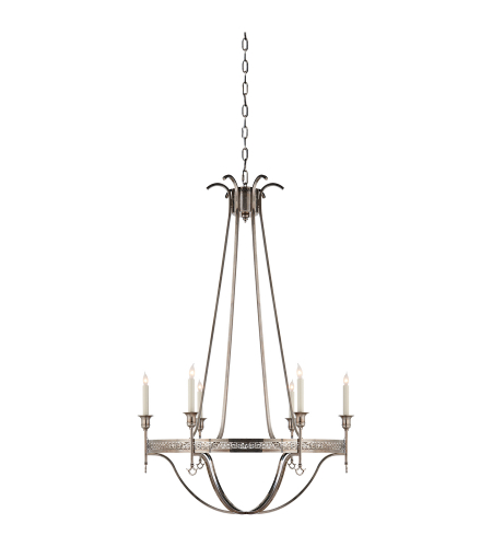 Visual Comfort SR 5141SHS John Rosselli Traditional Savannah Large Chandelier in Sheffield Silver