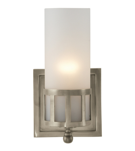 Visual Comfort SS 2011AN-FG Studio VC Modern Openwork Single Sconce in Antique Nickel with Frosted Glass