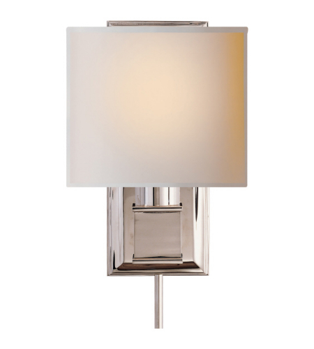 Visual Comfort SS 2031PN-NP Studio VC Modern Box Sconce in Polished Nickel with Natural Paper Shade