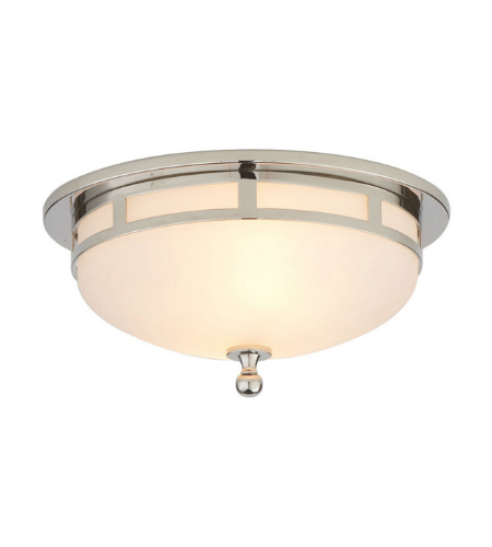 Visual Comfort SS 4010PN-FG Studio VC Modern Openwork Small Flush Mount in Polished Nickel with Frosted Glass