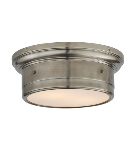 Visual Comfort SS 4015AN-WG Studio VC Traditional Siena Small Flush Mount in Antique Nickel with White Glass