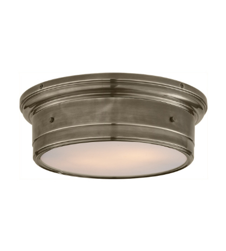 Visual Comfort SS 4016AN-WG Studio VC Traditional Siena Large Flush Mount in Antique Nickel with White Glass