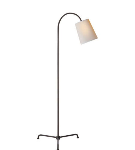 Visual Comfort TOB 1021AI-NP Thomas O'Brien Modern Mia Floor Lamp in Aged Iron with Natural Paper Shade