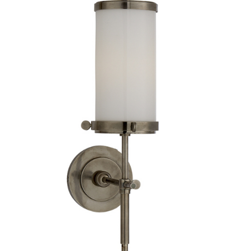 Visual Comfort TOB 2015AN-WG Thomas O'Brien Modern Bryant Bath Sconce in Antique Nickel with White Glass