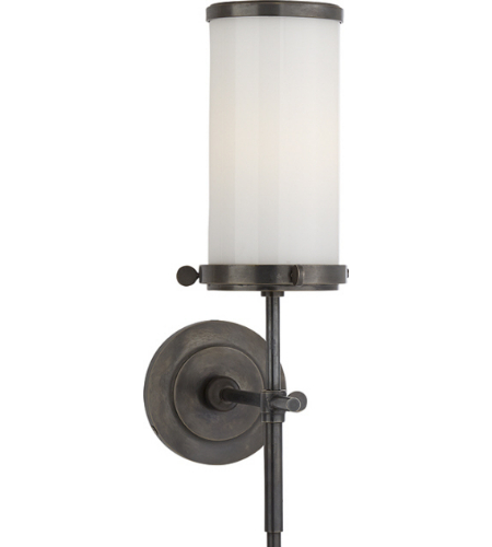 Visual Comfort TOB 2015BZ-WG Thomas O'Brien Modern Bryant Bath Sconce in Bronze with White Glass