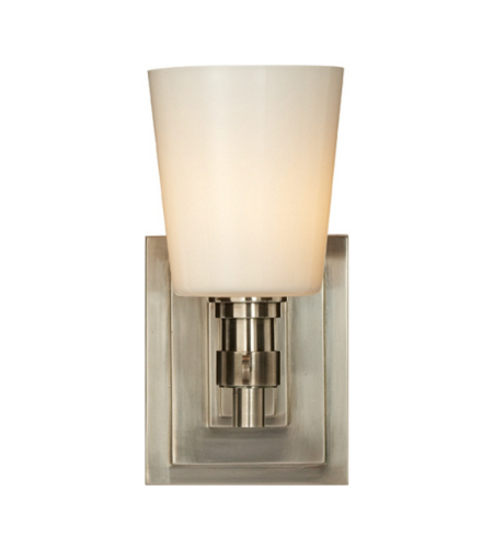 Visual Comfort TOB 2152AN-WG Thomas O'Brien Modern Bryant Single Bath Sconce in Antique Nickel with White Glass