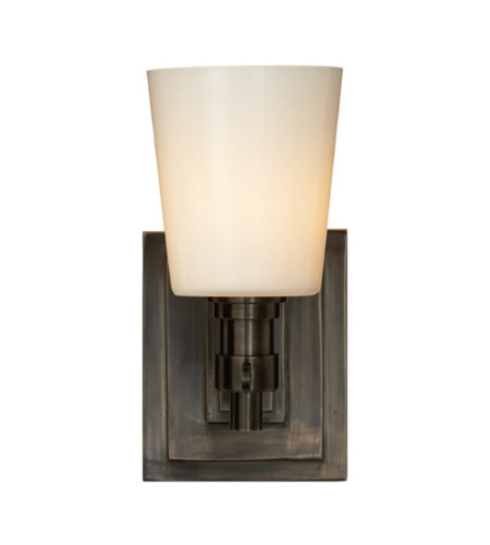 Visual Comfort TOB 2152BZ-WG Thomas O'Brien Modern Bryant Single Bath Sconce in Bronze with White Glass